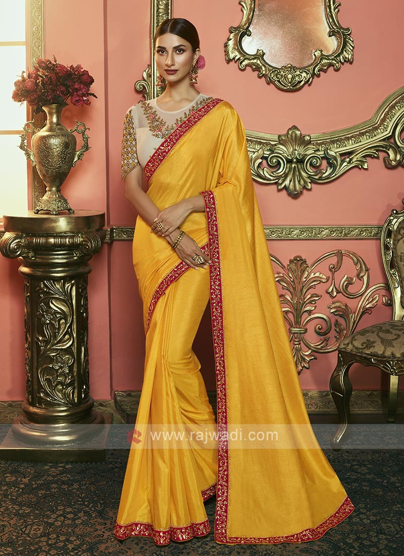 Dola Silk Saree In Mustard Yellow Color