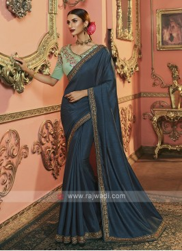Dola Silk Saree In Peacock Blue Color