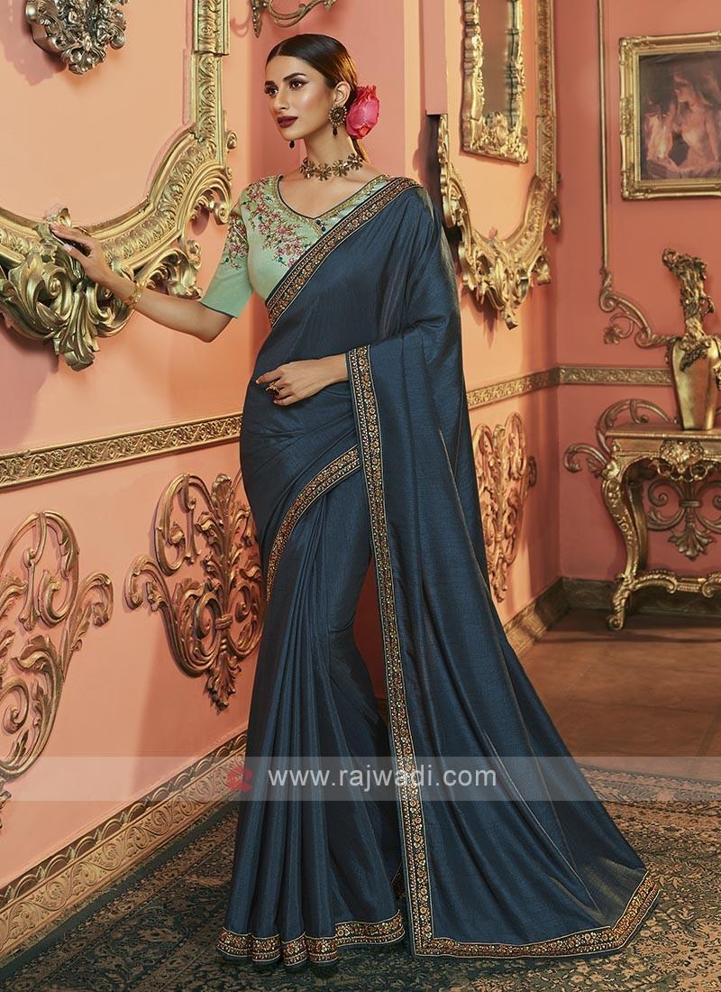 Dola Silk Saree In Peacock Blue Color