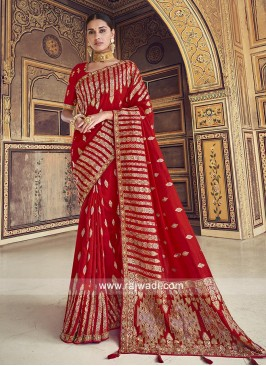 Dola Silk Saree In Red Color