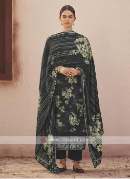 Dola silk suit in black color