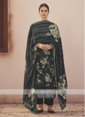 Dola silk suit in black color