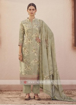 Dola silk suit in light pista color