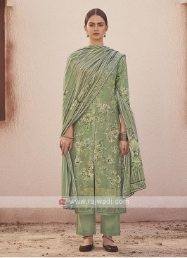 Dola silk suit in pista green color