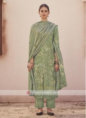 Dola silk suit in pista green color