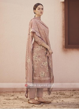 Dola silk suit in rosy brown color