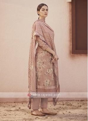 Dola silk suit in rosy brown color