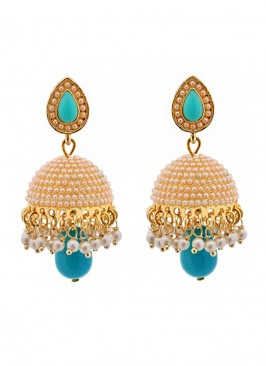 Dome of Pearl Blue Jhumki Earrings