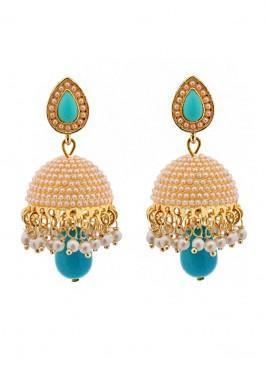 Dome of Pearl Blue Jhumki Earrings