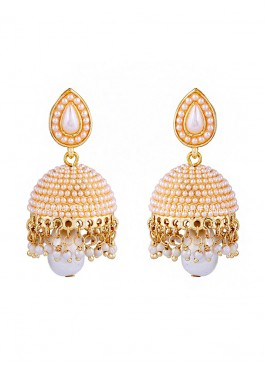 Dome Of Pearl White Jhumki Earrings