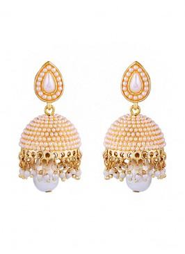 Dome Of Pearl White Jhumki Earrings