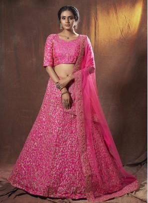 Dori Work Art Silk Lehenga Choli in Hot Pink