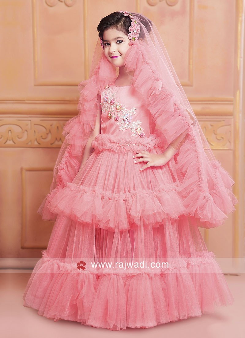Double Layer Kids Net Gown