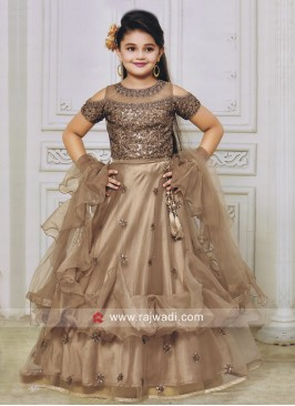 Double Layer Kids Satin Net Lehenga Choli