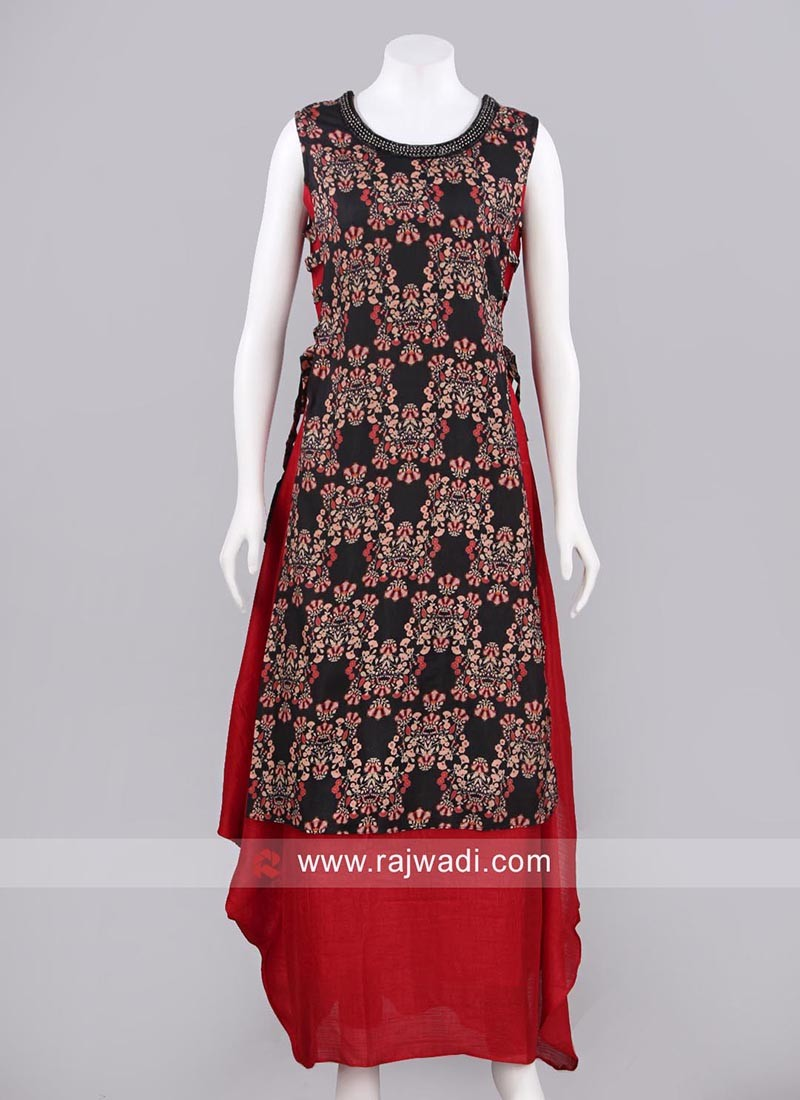 Double Layer Printed Long Kurti