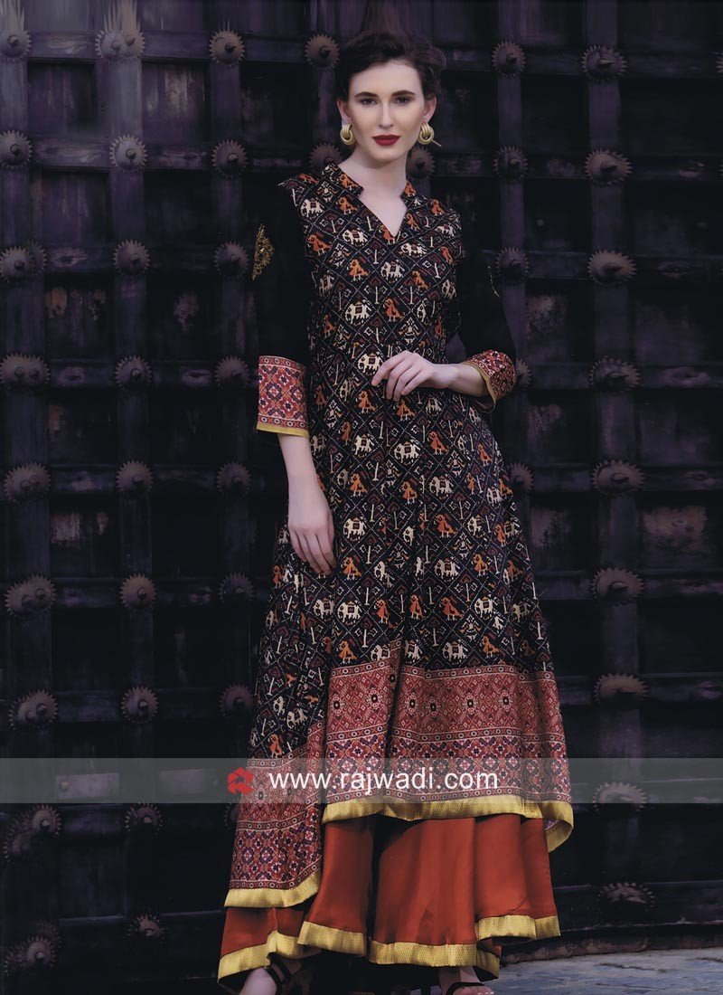 Double Layer Silk Party Wear Kurti