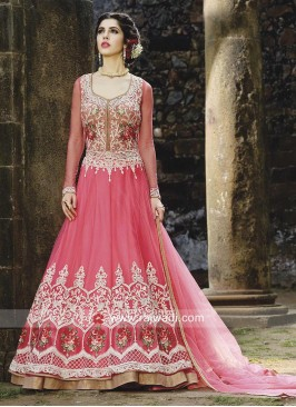 Double Layer Unstitched Salwar Suit in Deep Pink