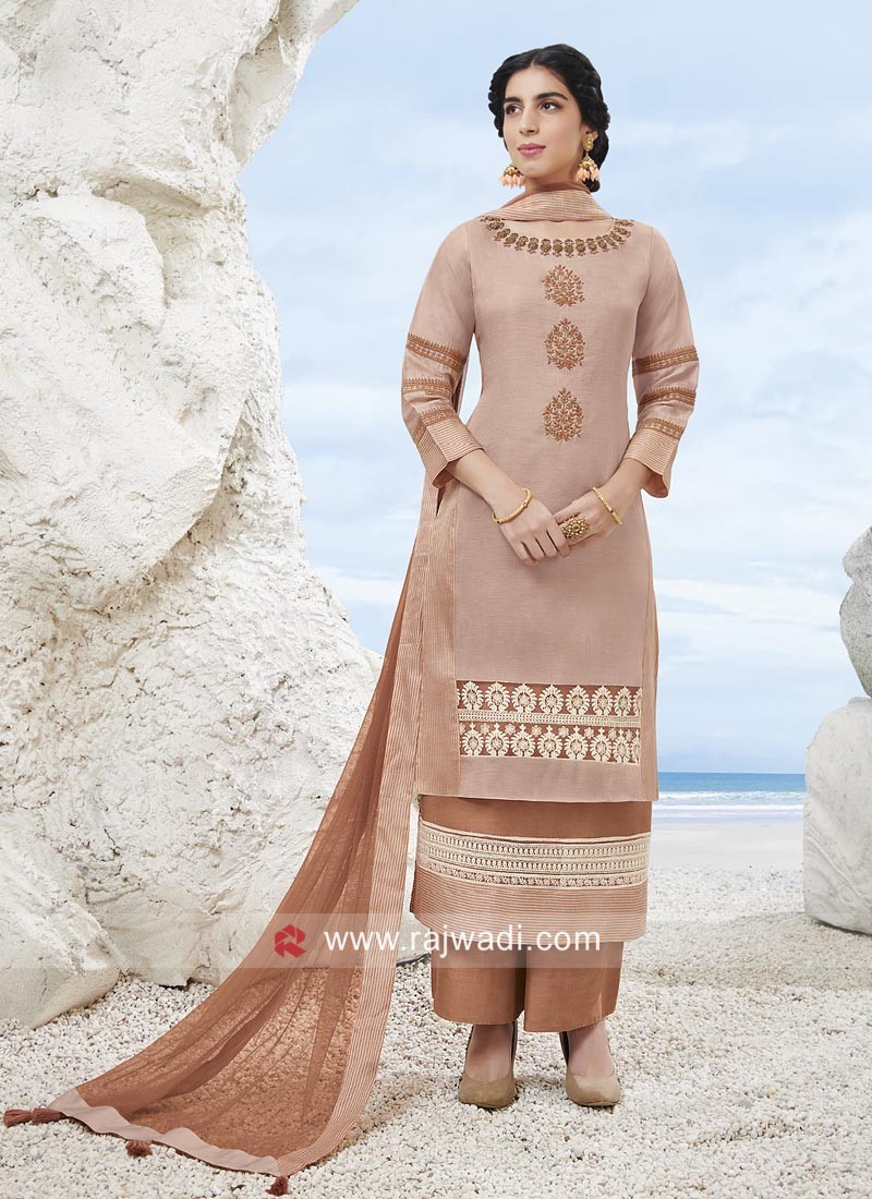 Double Layered Crepe Silk Palazzo Suit
