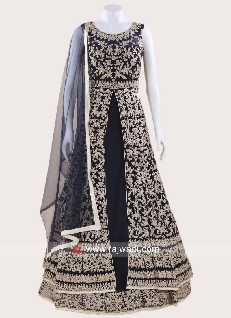 Double Layered Front Slit Anarkali in Navy