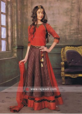 Double Layered Kids Choli Suit in Red