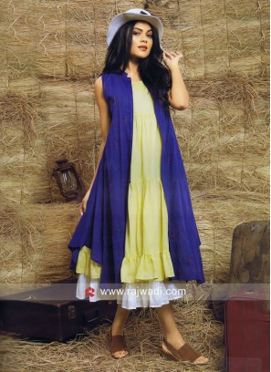 Double Layered Kurti with Long Jacket