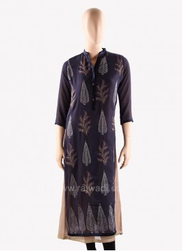 Double Layered Kurti with Thread Work