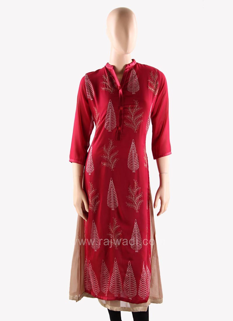 Double Layered Maroon and Beige Long Kurti