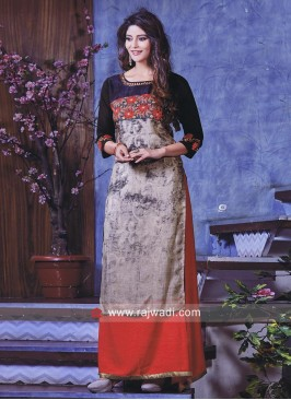 Double Layered Maxi Style Embroidered Kurti