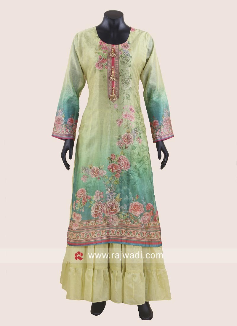 Double Layered Printed Kurti with Broach