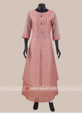 Double Layered Printed Slit Kurti