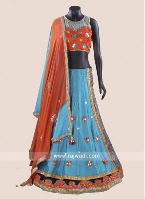 Double Layered Raw Silk Chaniya Choli
