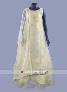 Double Layered Salwar Suit in Light Yellow