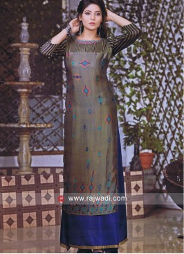 Double Layered Thread Work Kurti