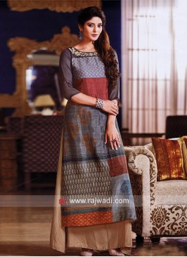 Double Layered Zardosi Work Kurti