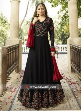 Drashti Dhami Anarkali Salwar Suit in Black