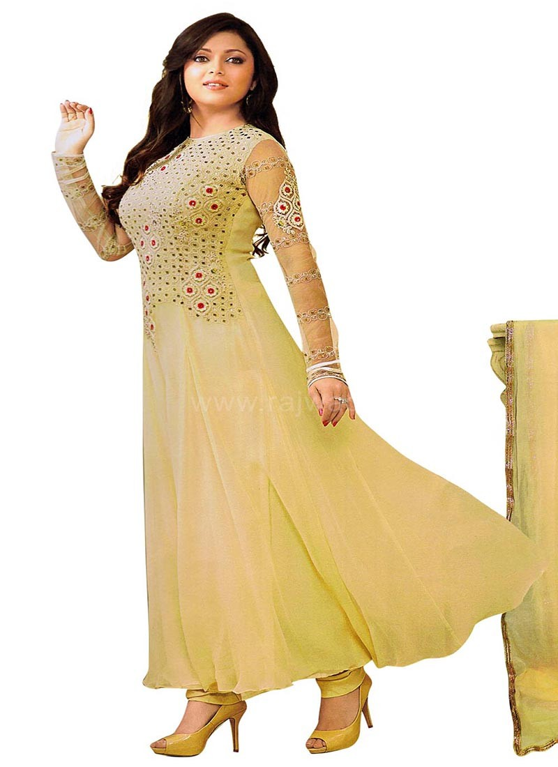 Drashti Dhami Cream Dress Material