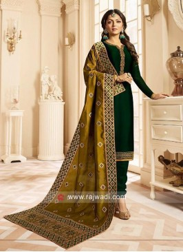 Drashti Dhami Georgette Salwar Suit in Bottle Green