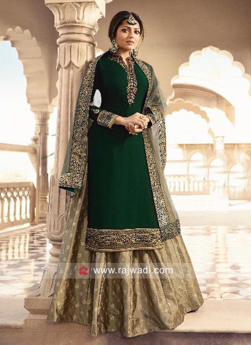 Drashti Dhami in Bottle Green Lehenga Style Suit