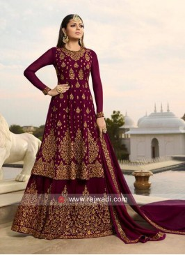 Drashti Dhami in Maroon Chiffon Lehenga Suit for Eid