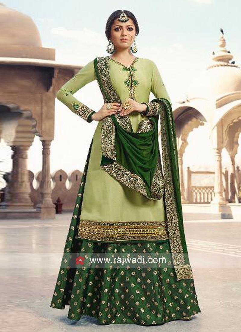 Drashti Dhami Lehenga Suit in Pista Green