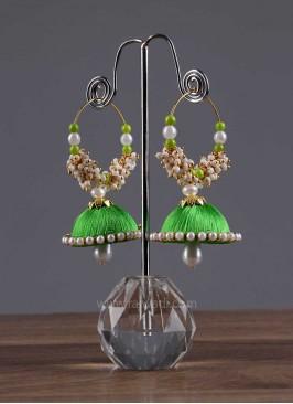 Drop Beads Jhumki Earrings in Green