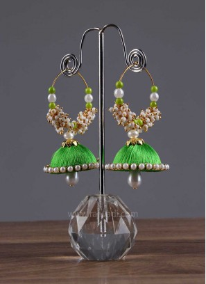 Drop Beads Jhumki Earrings in Green