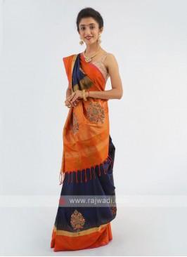 Dual Color Silk Saree