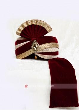 Dulha Maroon Color Velvet Safa