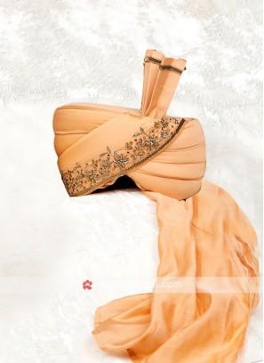 Dulha Turban in Peach Color