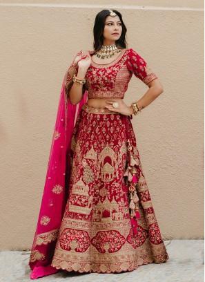 Dulhan Velvet Lehenga Choli In Rani Color