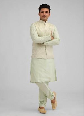 Dupion Silk Printed Nehru Jacket Suit