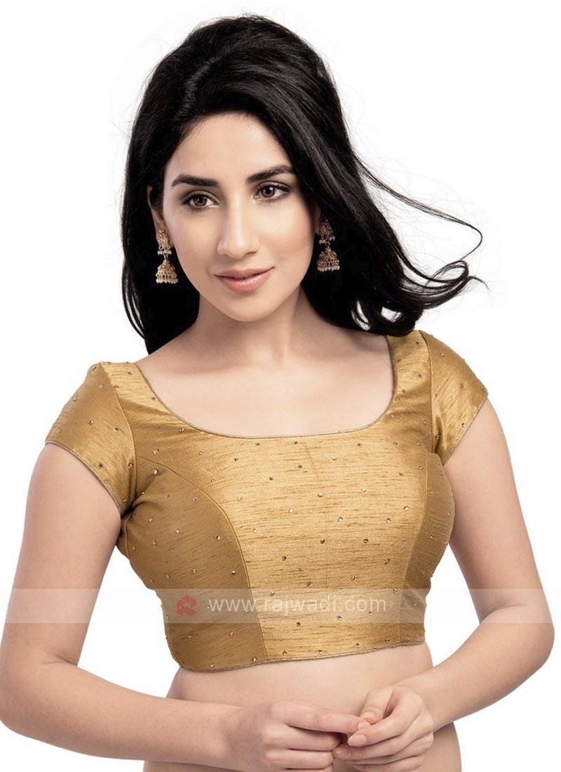 Dupion Silk Ready Blouse In Golden