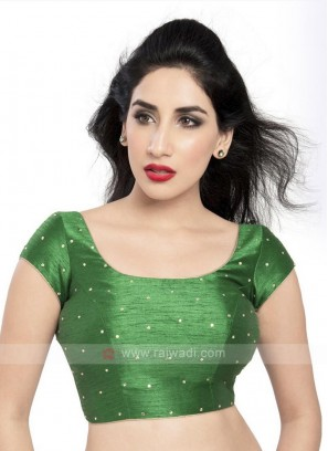 Dupion Silk Ready Blouse In Green