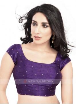 Dupion Silk Ready Blouse In Purple